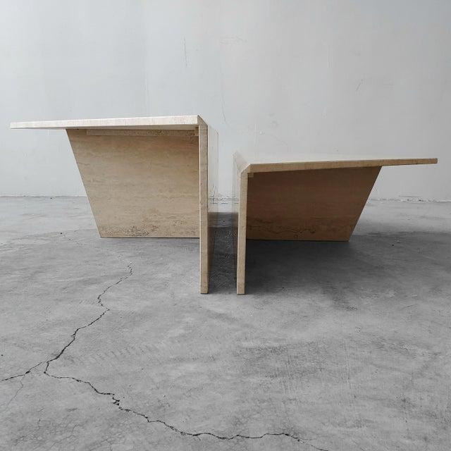 Italian 2 Piece Tiered Post-Modern Italian Travertine Coffee Table For Sale - Image 3 of 8