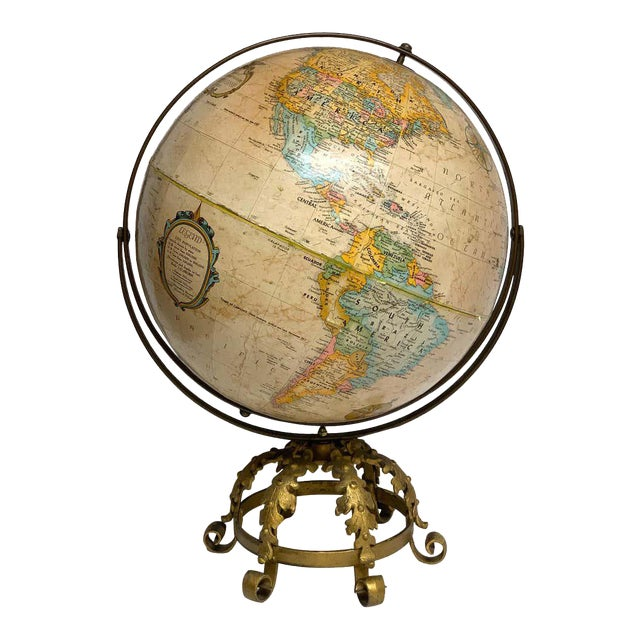 Pre Wwii Globe on Art Deco Wrought Iron Stand by Repogle For Sale