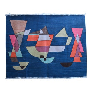 Paul Klee - Sailing Boats - Inspired Silk Hand Woven Area - Wall Rug 4′6″ × 5′9″ For Sale