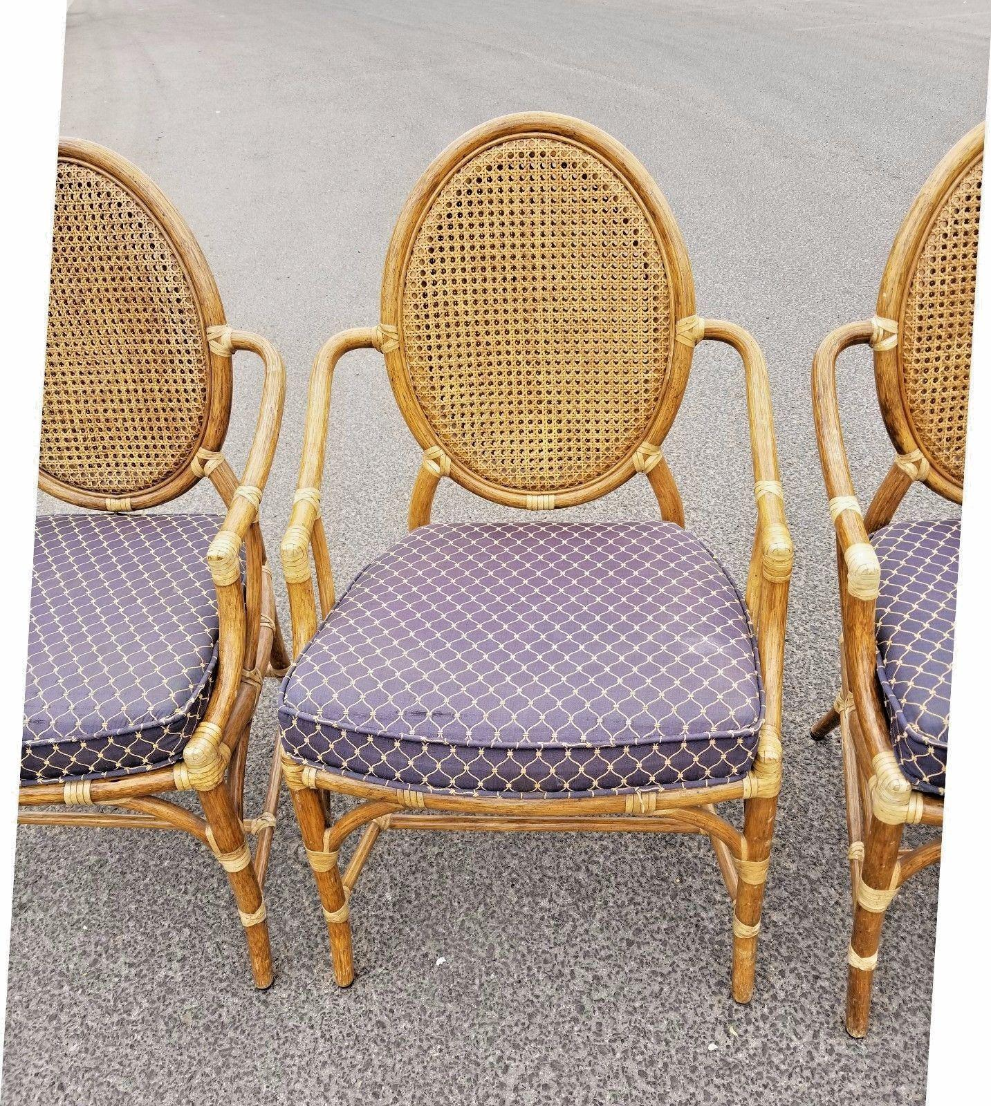 Vintage McGuire Rattan Cane Back Dining Chairs   Set Of 4 For Sale In Los  Angeles