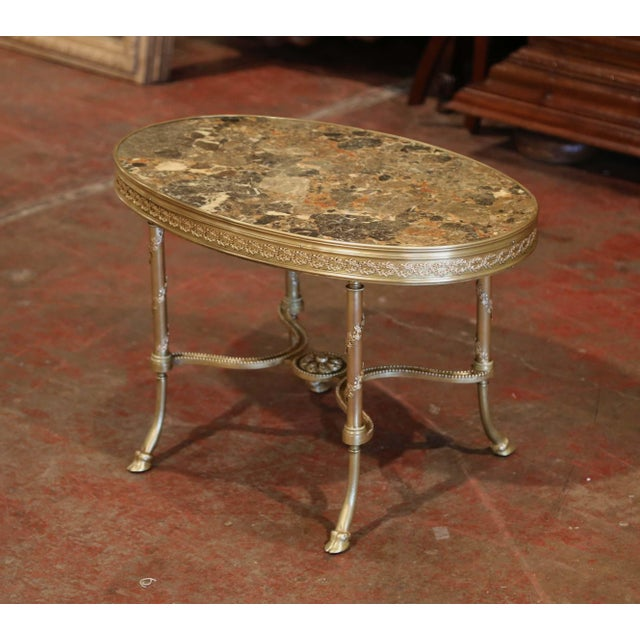 19th Century French Louis XVI Gilt Bronze Oval Low Table With Marble Top For Sale In Dallas - Image 6 of 7