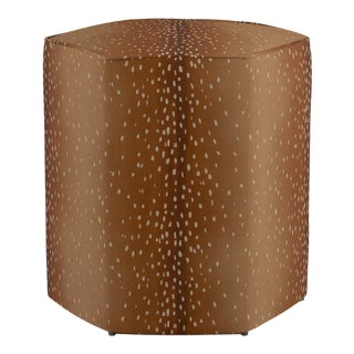Hexagonal Ottoman in Antelope For Sale