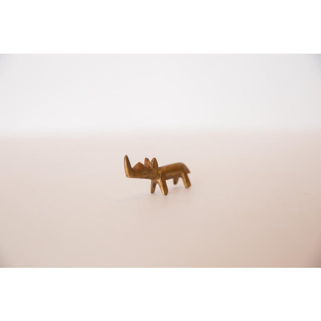 African Vintage African Mini Golden Bronze Rhino For Sale - Image 3 of 7