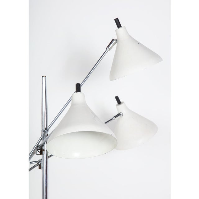Chrome White and Chrome Floor Lamp With Three Heads by Underwriters Laboratories For Sale - Image 8 of 13