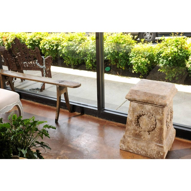 Mid 20th Century Pair of Vintage Continental Faux Stone Garden Plinths with Wreath Motifs, 1960s For Sale - Image 5 of 12