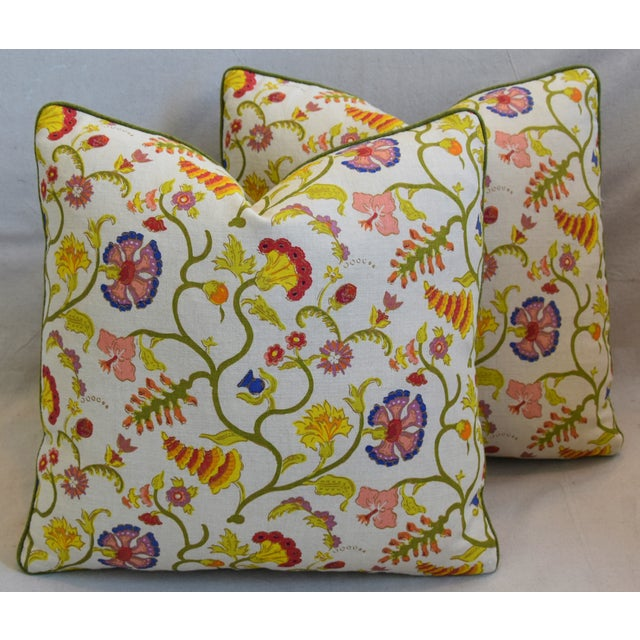 """Cotton Raoul Floral & Scalamadre Mohair Feather/Down Pillows 21"""" Square - Pair For Sale - Image 7 of 13"""