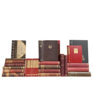 Antique Poetry Books: Chocolate & Raspberry, S/25 Custom Set For Sale