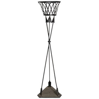 Empire Deco Style Early Jardinière Metal Arrow Stand Planter in Tole For Sale