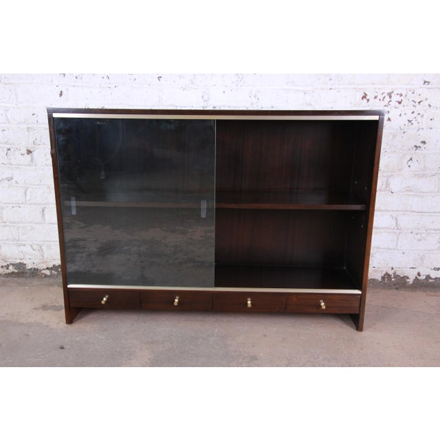 "Paul McCobb for Calvin ""Irwin Collection"" Mahogany Glass Front Cabinet or Bookcase For Sale - Image 10 of 13"