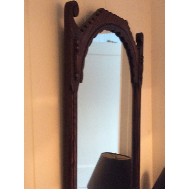 Coffee Early 19th Century Rustic Dark Oak Console and Mirror - 2 Pieces For Sale - Image 8 of 13