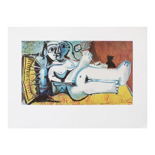 "1971 Pablo Picasso, ""Lying Female Nude With Cat"" Original Period Parisian Photogravure For Sale"