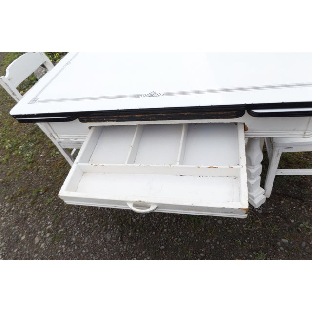 White Porcelain Expandable Farmhouse Table Set - Image 10 of 11