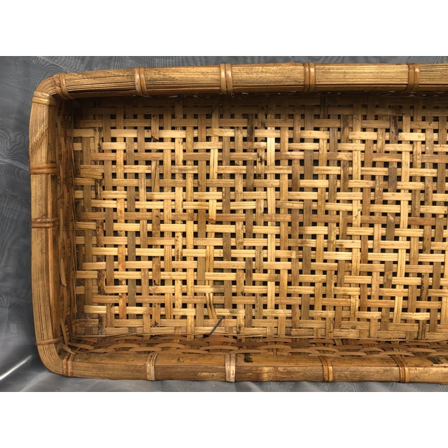 Wood Late 20th Century Large Woven Bamboo Tray Basket For Sale - Image 7 of 13