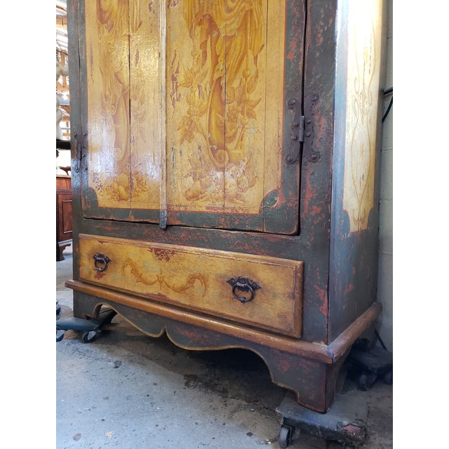 Rustic Hand Painted Arch Top Armoire For Sale In Atlanta - Image 6 of 13