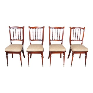 Vintage Set of 4 French Maple Dining Chairs W/ Beige Leather Seats For Sale