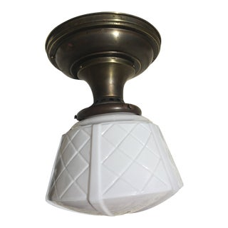 Vintage Farmhouse Brass Flushmount Fixture With Shade For Sale