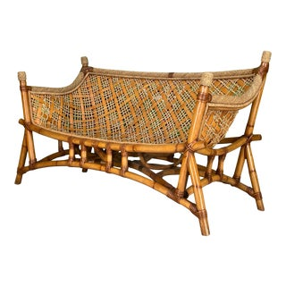 Rattan and Rope Tiki Style Sling Sofa For Sale