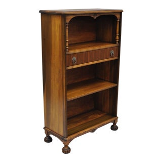 Antique Walnut Jacobean Depression Style One Drawer Bookcase Stand For Sale