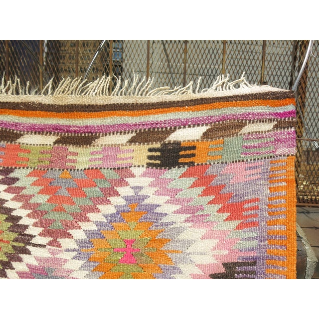Boho Chic Vintage Flat Weave Kilim Rug - 3'9'' X 4'6'' For Sale - Image 3 of 8