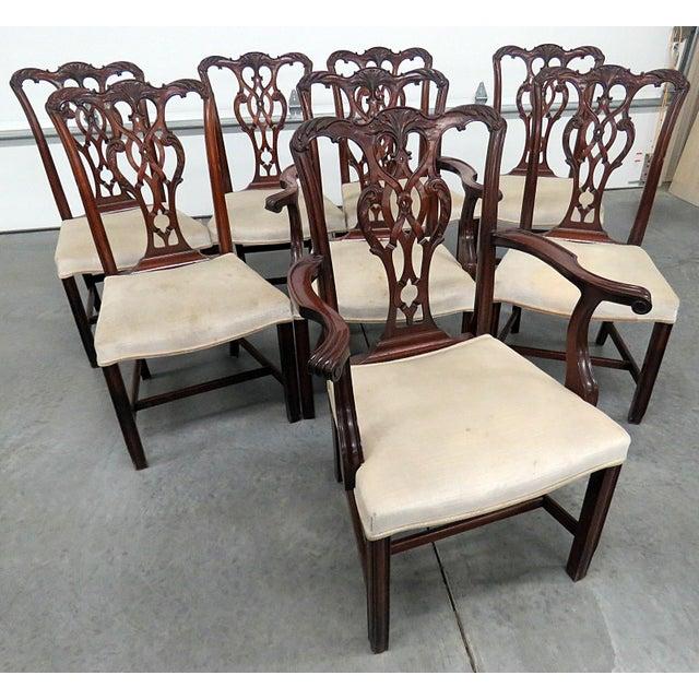 Vintage Mid Century Georgian Style Dining Room Chairs- Set of 8