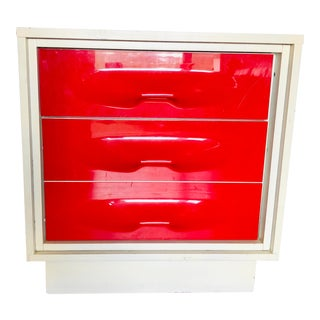 1970s Space Age Pop Modern Treco Cherry Red Night Stand For Sale