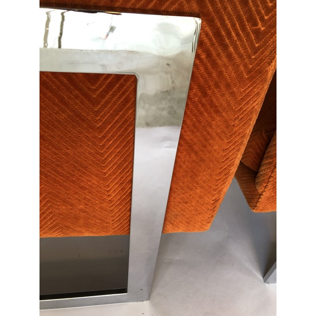 Orange 1970s Mid-Century Modern Milo Baughman T-Back Chrome Lounge Chairs - a Pair For Sale - Image 8 of 12