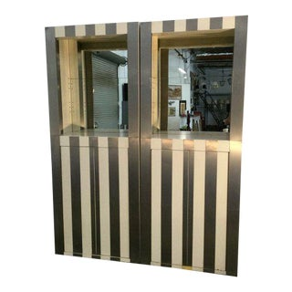 Pair of Paul Evans Pinstripe Cabinets For Sale