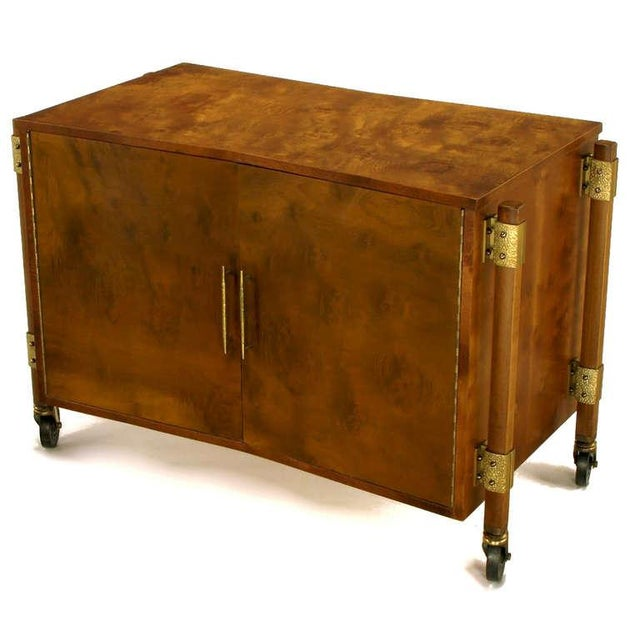 Mid-Century Modern Harold Schwartz Burled Walnut Farfalla-Form Rolling Bar Cart For Sale - Image 3 of 11