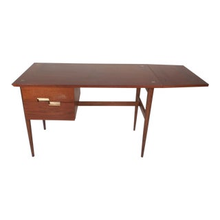 American of Martinsville Drop-Leaf Walnut Desk by Merton Gershun For Sale