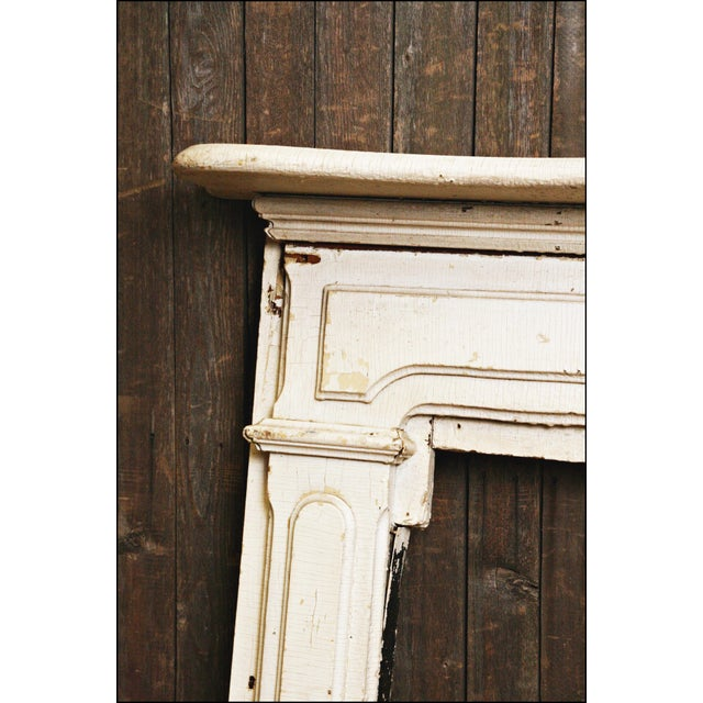Antique Original Chippy White Painted Wooden Fireplace Mantel - Image 4 of 11