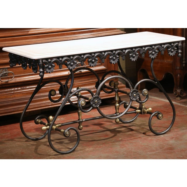 Polished Iron Butcher Pastry Table With Marble Top and Brass Finials From France For Sale - Image 10 of 11