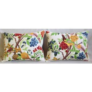 "Colorful Chinoiserie Bird & Floral Feather/Down Pillows 24"" X 18"" - Pair Preview"