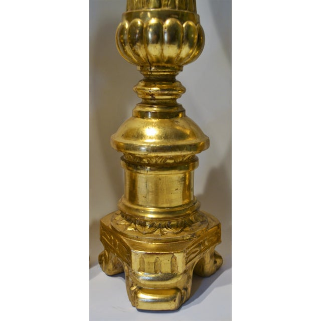 Set of Four Antique French Altar Candlesticks For Sale - Image 4 of 5