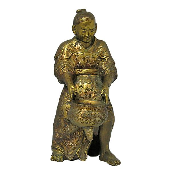 Metal Late 19th Century Vintage Japanese Meiji Period Gilt Bronze Figure For Sale - Image 7 of 7