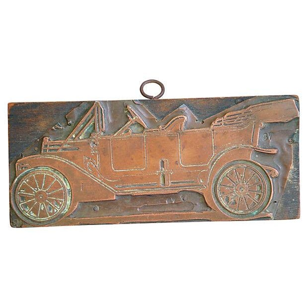 Antique French Automobile Printer's Copper Plate - Image 4 of 4