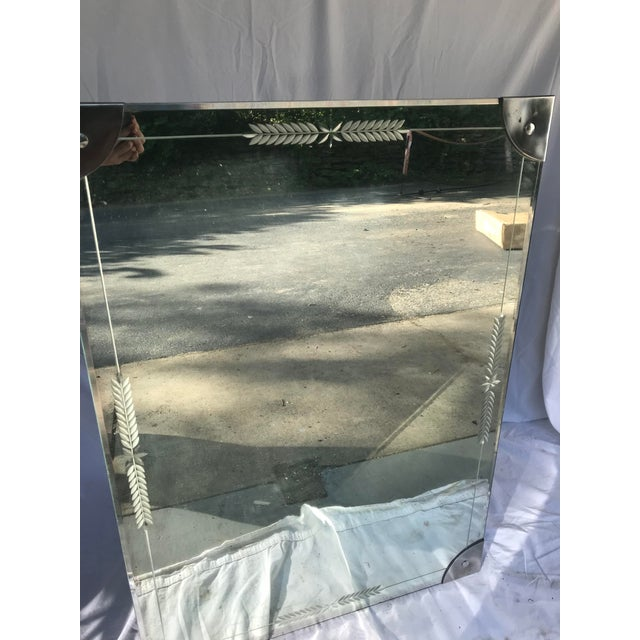 Art Deco Mid-Century Large Etched Glass Wall Mirror For Sale - Image 3 of 6