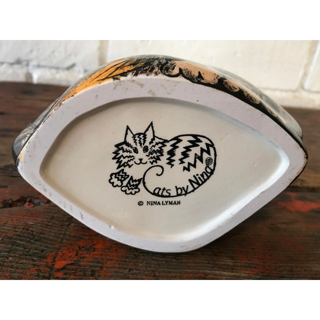 Black Nina Lyman Tortie Cat Vase For Sale - Image 8 of 8