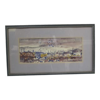 John Waddingham Pacific Nw Oregon Portland Cityscape Watercolor Painting For Sale