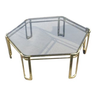 Mid Century Brass Octagon Coffee Table
