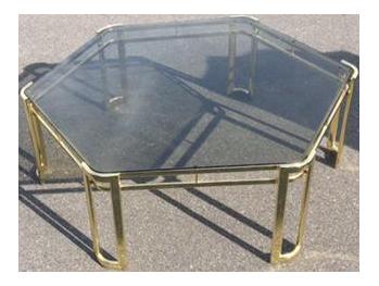 Mid Century Brass Octagon Coffee Table