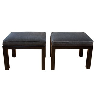 Lacquered Velvet Upholstered Benches - A Pair
