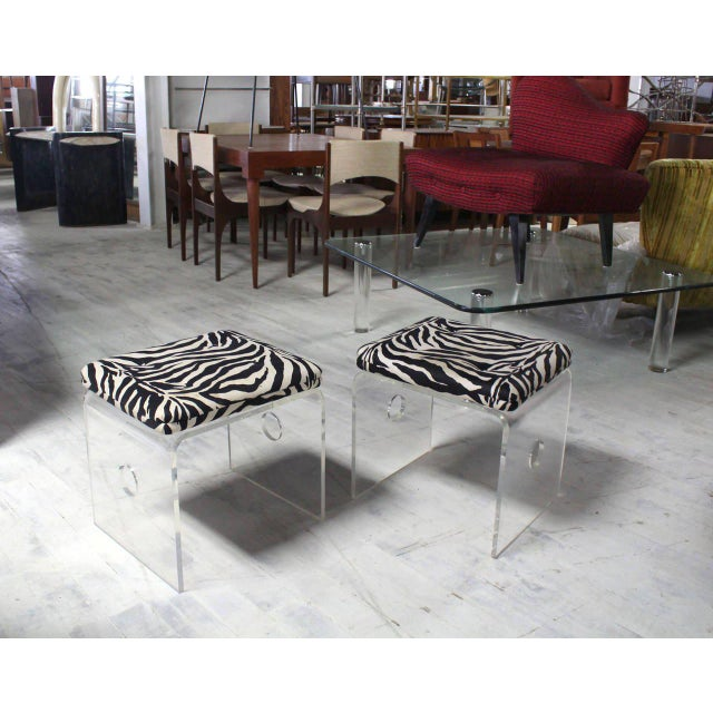 Mid-Century Modern Pair of Bent Lucite Benches with Zebra Upholstery Cushions For Sale - Image 3 of 8