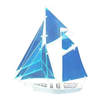 Contemporary Glass & Metal Sailboat For Sale