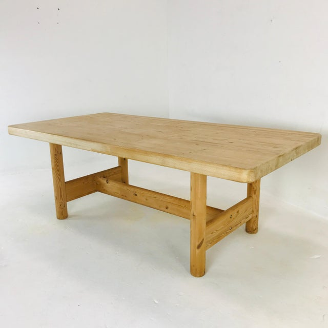 Wood Substantial Solid Scandinavian Pine Butcher Block Dining Table For Sale - Image 7 of 13