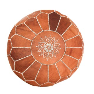 Atlas Tan Leather Pouf For Sale