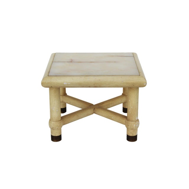 Onyx Side Table with X Base in the style of Karl Springer. The natural onyx top is inset to the frame. Nice detail in the...