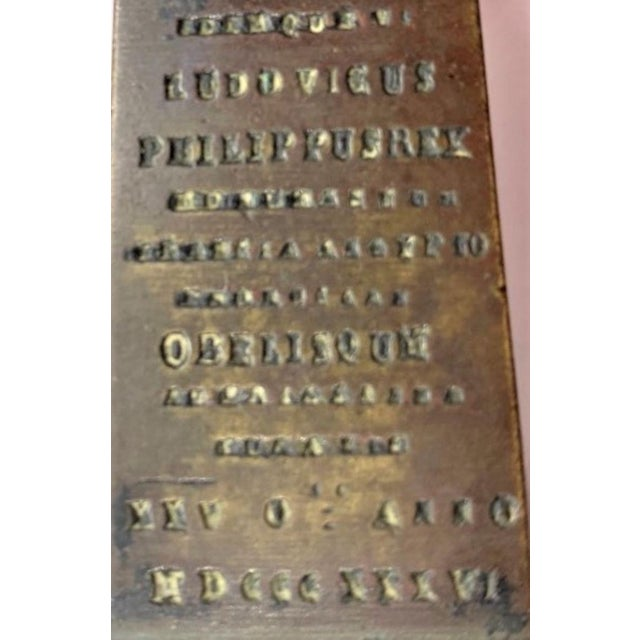 Grand Tour style Bronze incised Obelisk de Luxor, signed 1836 during the reign of Louis Philippe.