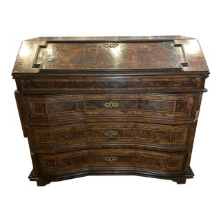 Late 17th Century 3 Drawer Burlwood Secretary Desk For Sale