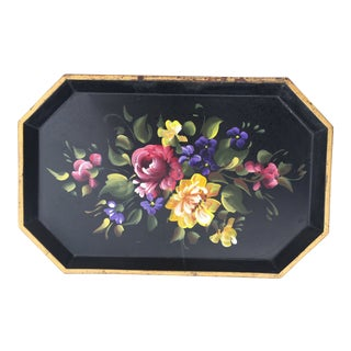 Vintage Nashco Hand-Painted Floral Tole Tray For Sale