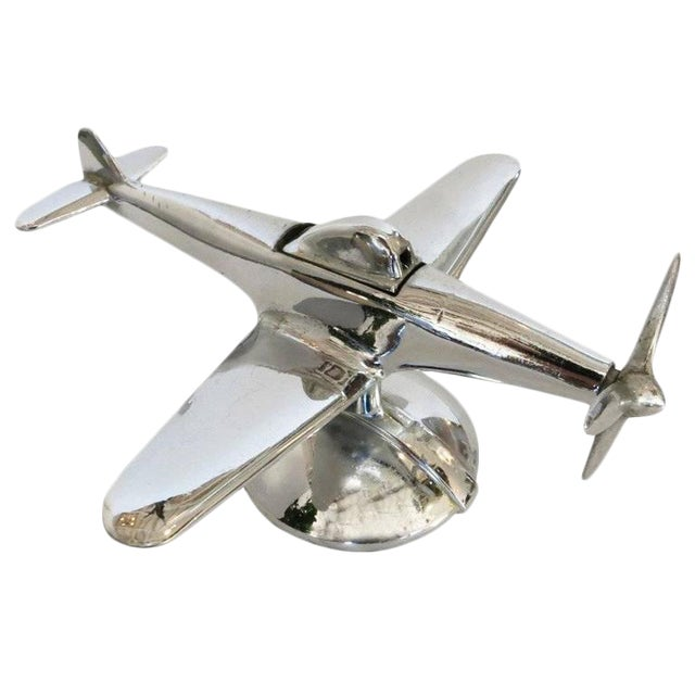 Chrome P-51 Mustang II Airplane Table Lighter by Negbaur - Image 1 of 9